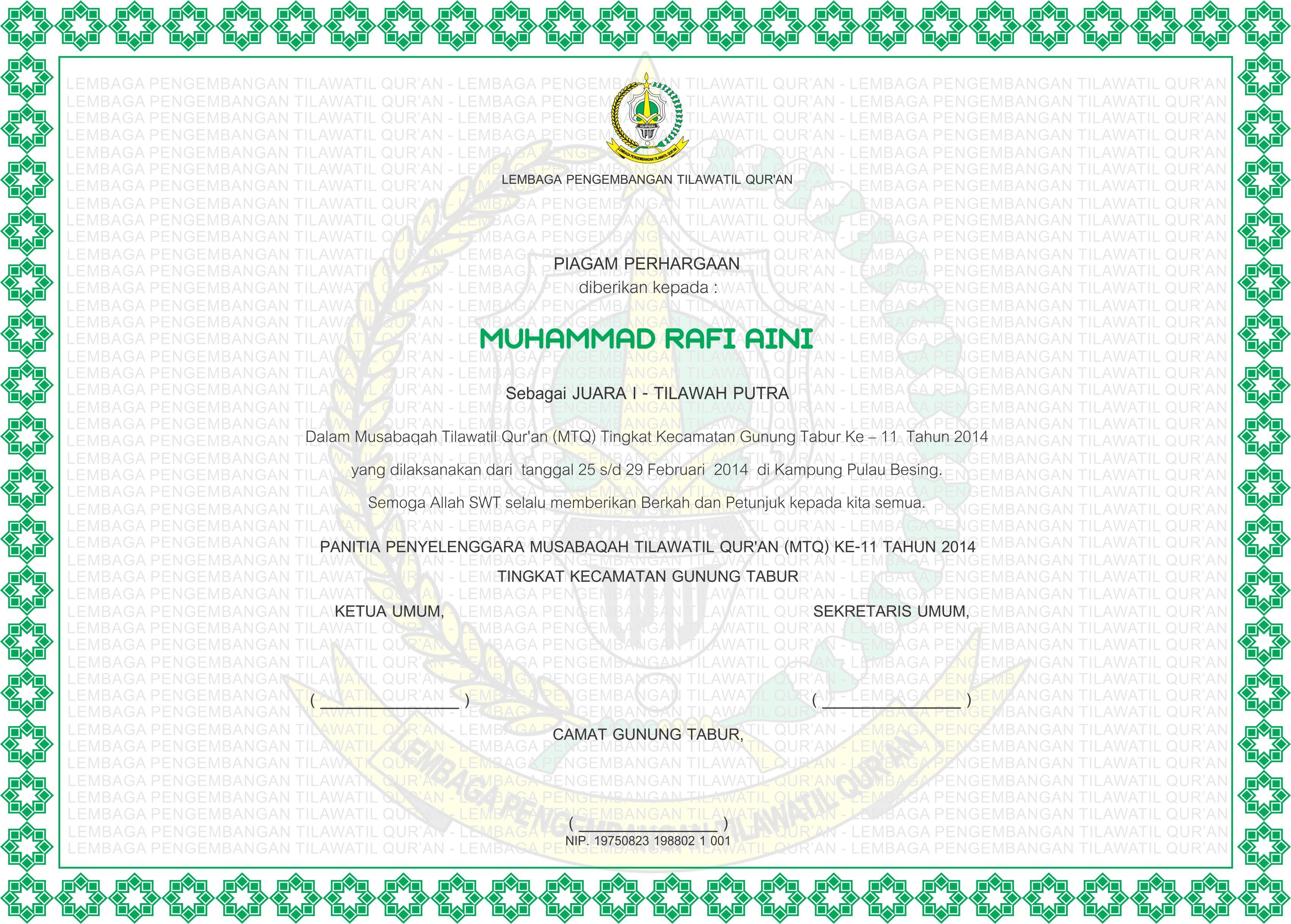 3406 X 2438 1154 KB Jpeg Aneka Contoh Piagam Penghargaan LPTQ